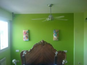 dormitorio verde oscuro y verde claro 3