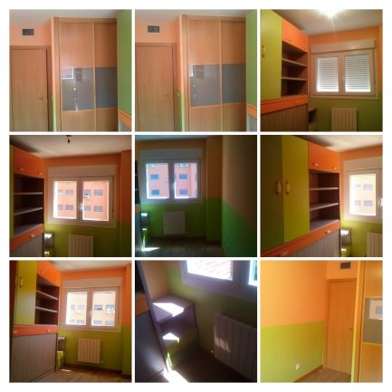 Habitacion Infantil Plastico Sideral Naranja y Esmalte Valacryl color verde con mueble -COLLAGE