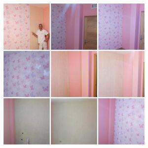 Plastico Rosa y Papel Pintado Mariposas (antes-despues) -COLLAGE