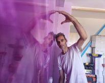 icono Reflejos Sobre Estuco Marmoleado Violeta