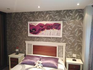 Dormitorio Papel pintado gris y plata (4)