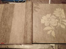 Papel Pintado a lineas y flores tono marron - oro