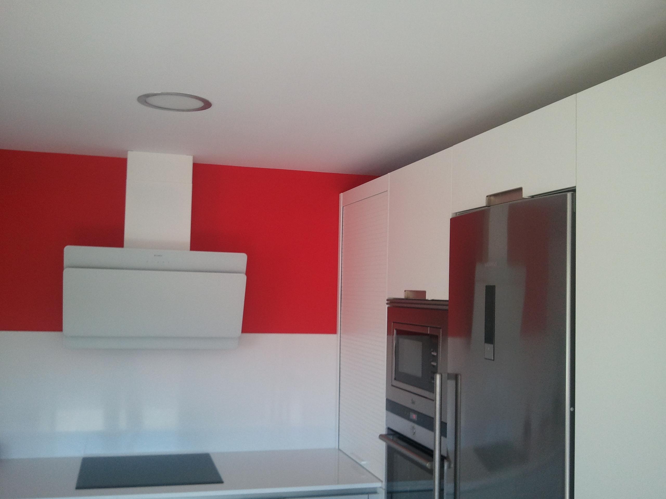 Cocina Plastico Blanco y Esmalte al Agua Color Rojo 2