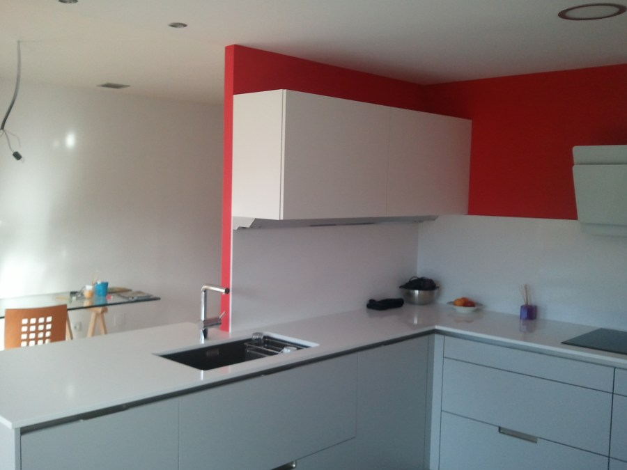 Cocina Plastico Blanco y Esmalte al Agua Color Rojo 5