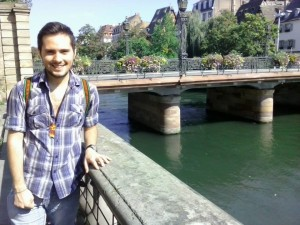Castillo-Montanye in Strasbourg, France on his study abroad program.