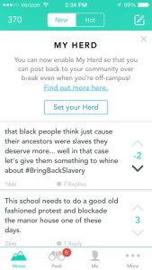 Screenshots of Yik Yaks posted in the Lewis & Clark geographic location.
