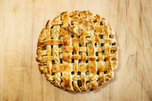Photo of a latticed pie.
