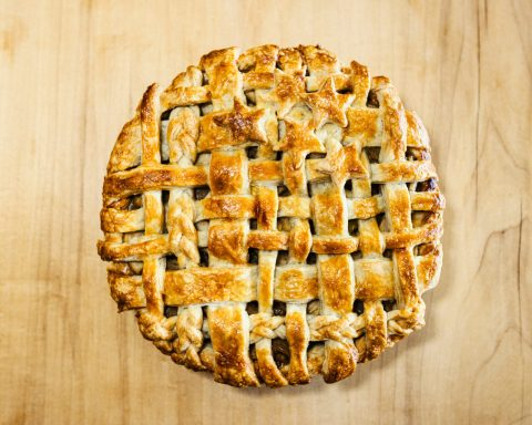 Photo of a latticed pie.