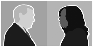 Cartoon versions of Mike Pence and Kamala Harris face each other on red and blue backgrounds, respectively