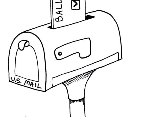 Illustration of arm putting a ballot in a mailbox