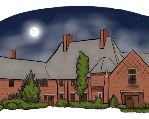 Illustration of the Frank Manor House at night time.