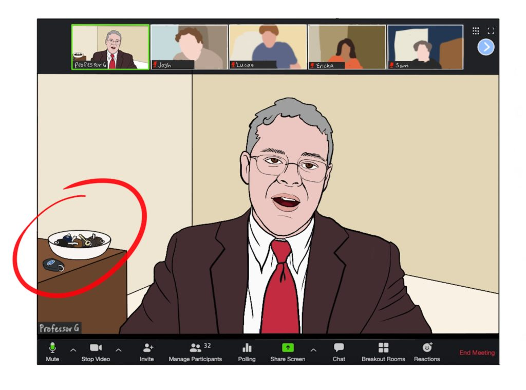 Zoom screen shows male professor with bowl of keys on the table behind him