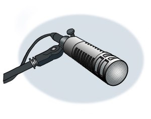 A microphone against a light gray background.