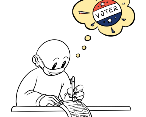 A person wearing a mask fills about a ballot while thinking about voting.