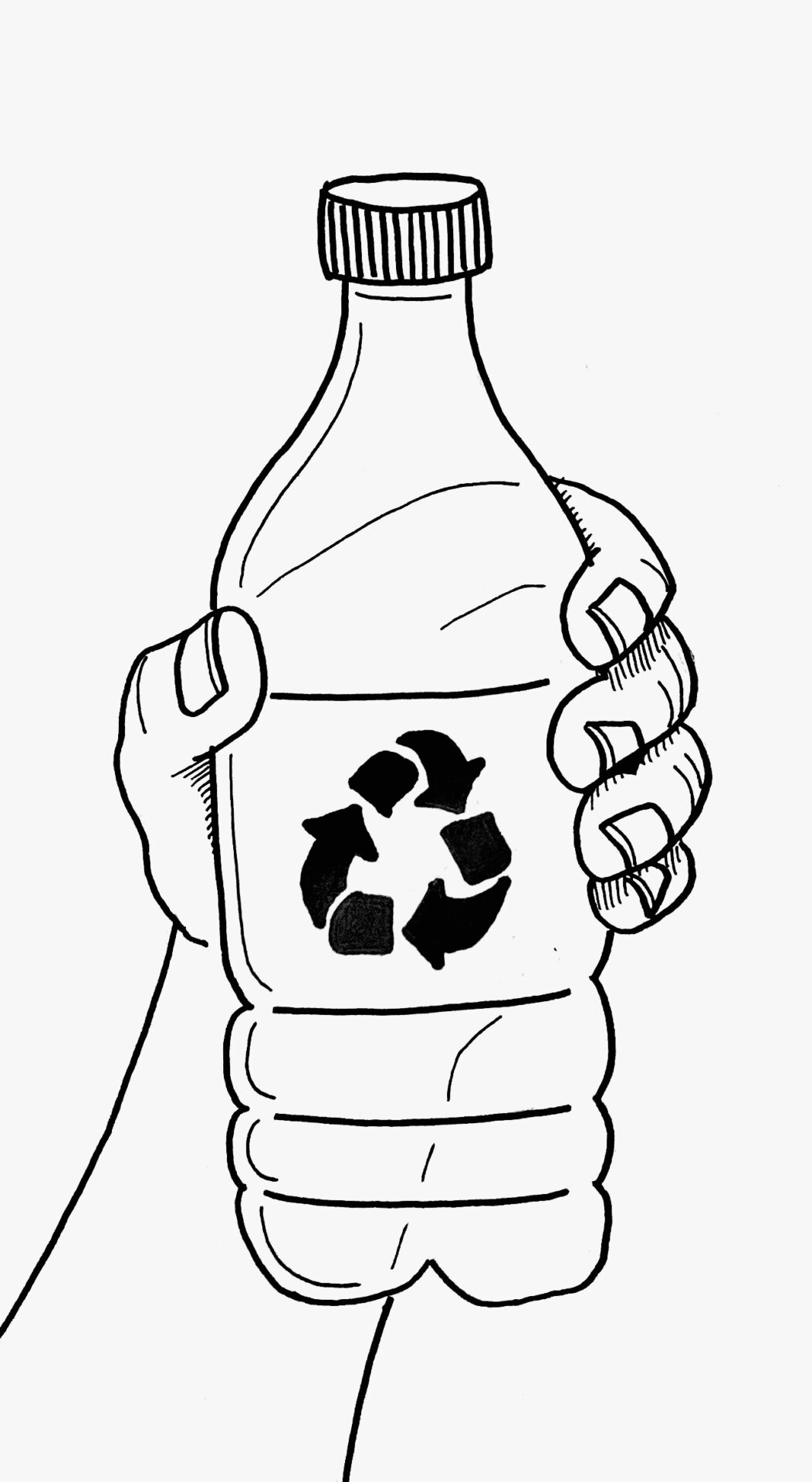 An image of a plastic bottle with a recycling symbol on the label.