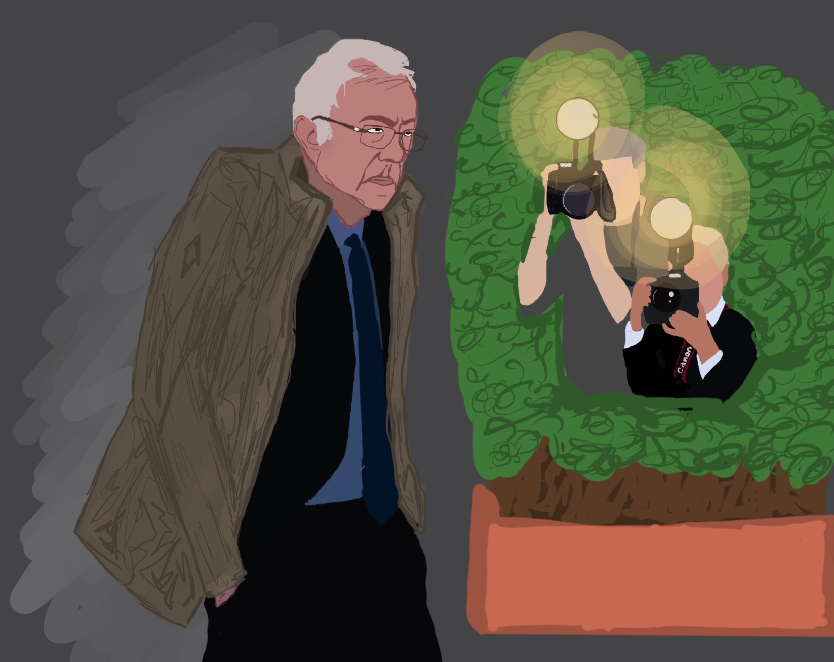 Bernie Sanders walks past a bush as paparazzi peer out with flashing cameras, hoping to snap a photo