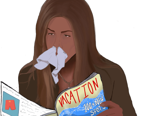 Girl with tissue in her nose reads magazine titled: Vacation, 100+ new spots