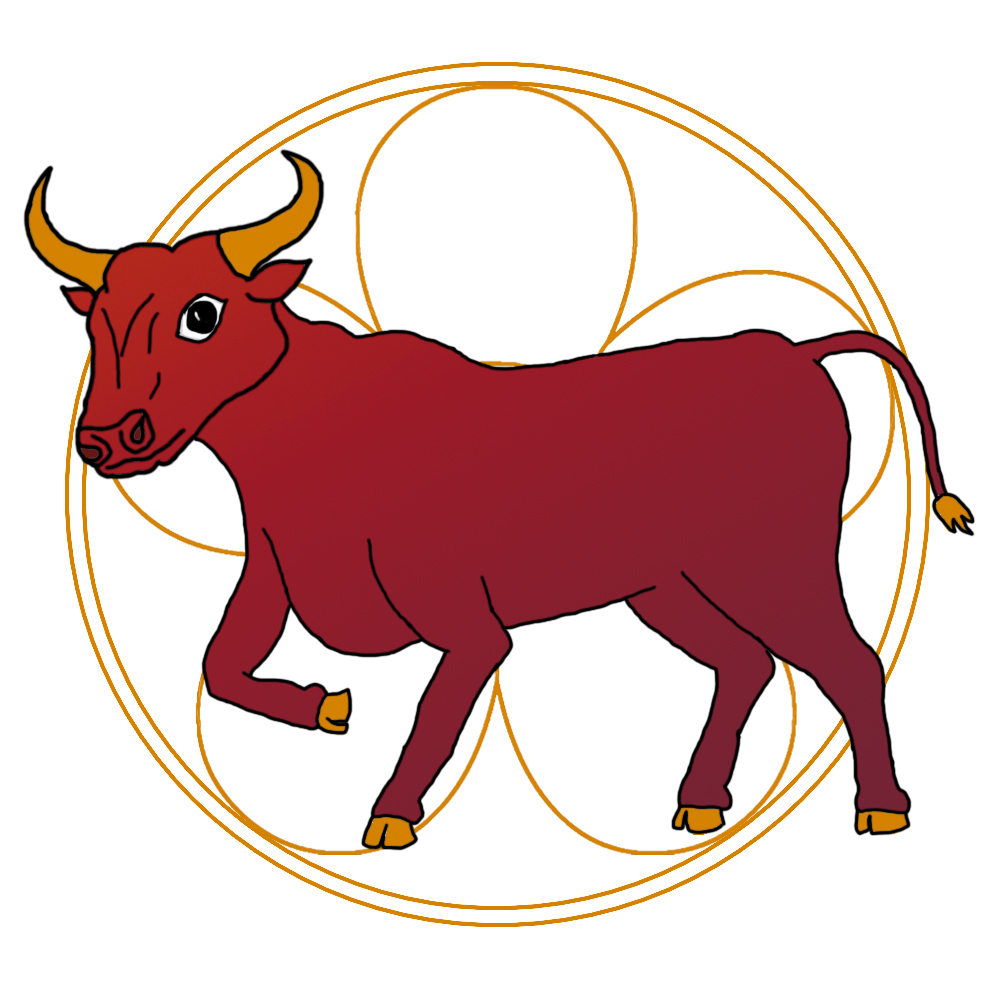 An illustration of an ox in front of an ornate golden circle for the Year of the Ox.