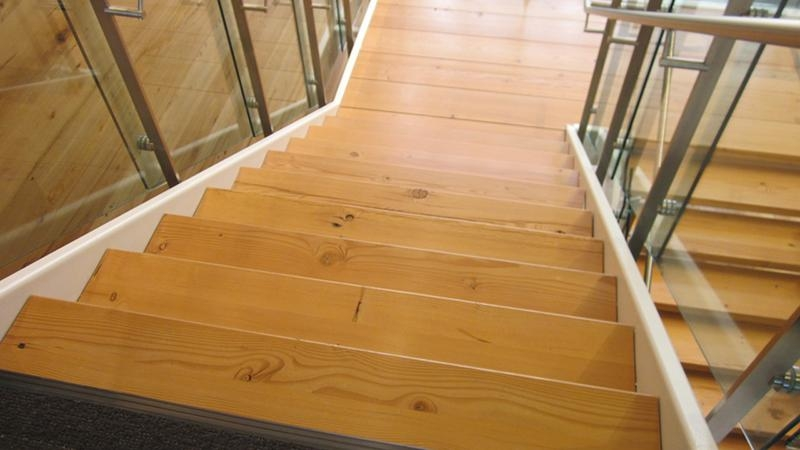 Custom Reclaimed Wooden Stairs And Treads Pioneermillworks   Reclaimed Wood Stair Treads   White Oak   Wood Plank   Straight Edge Wood   Lumber   Adhesive Padding 31 Wide Tread Single 10 Deep