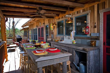 Kitchen and dining areas in the Pioneer Trading Post an