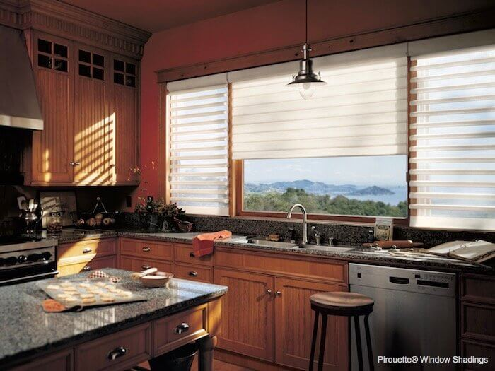 Pirouette Window Shadings - Linen Chamomile in Kitchen