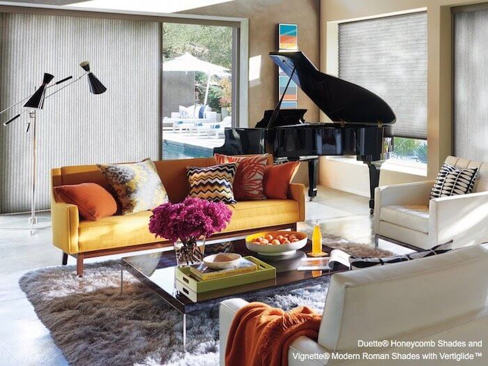Duette Honeycomb Shades and Vignette Modern Roman Shades with Vertiglide in a Great Room