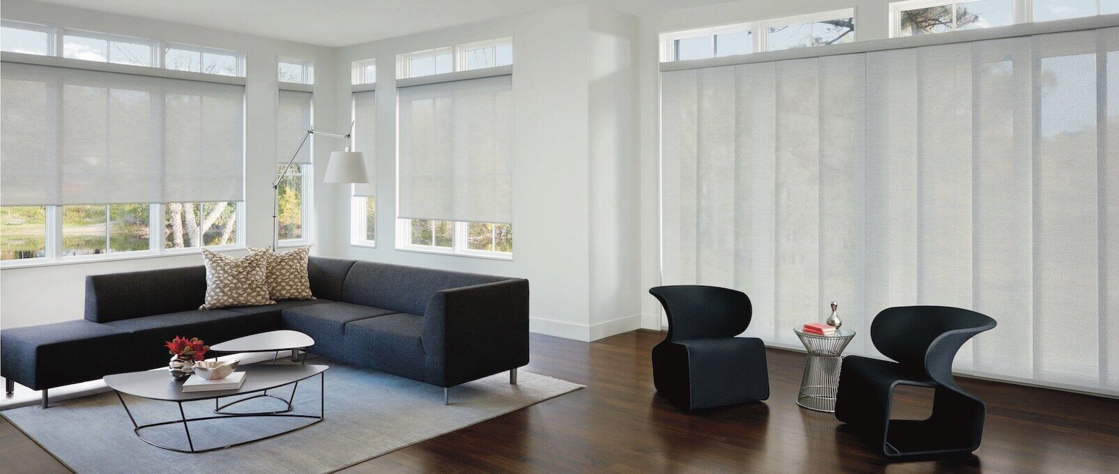 WHS Designer Screen Shades PowerView Barista Living Room