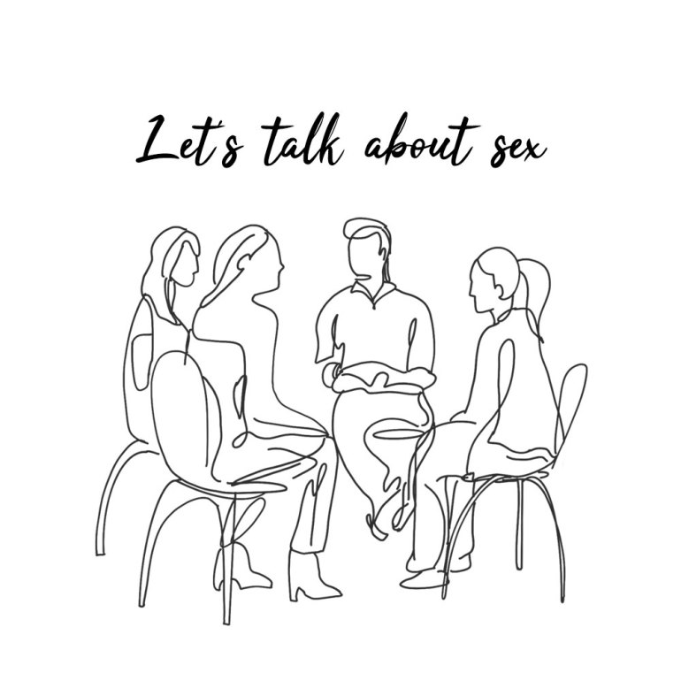 """A pen drawing of 4 people sitting in a group with the words """"Let's talk about sex"""" above them."""