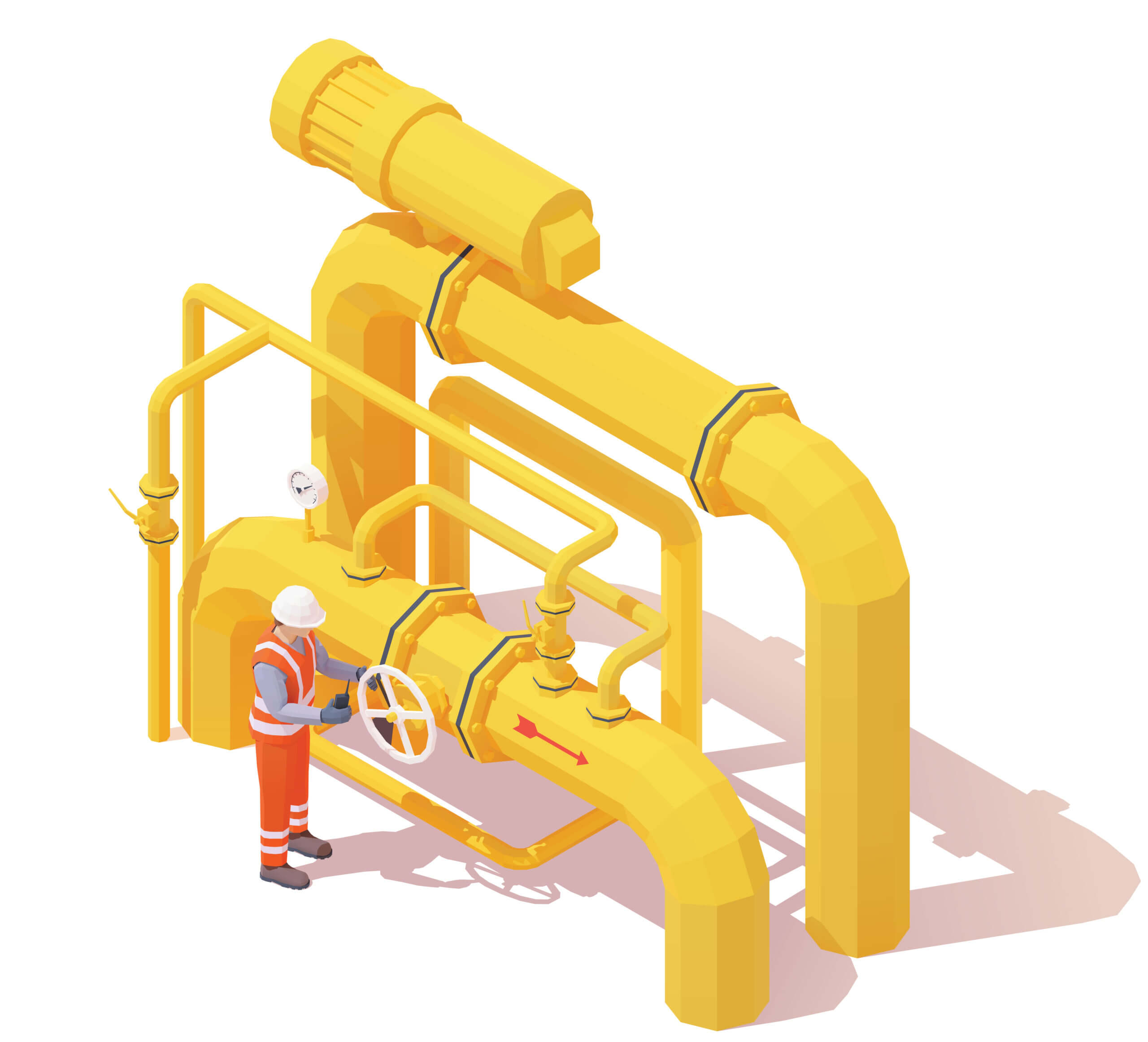 engineer working on fluid piping system
