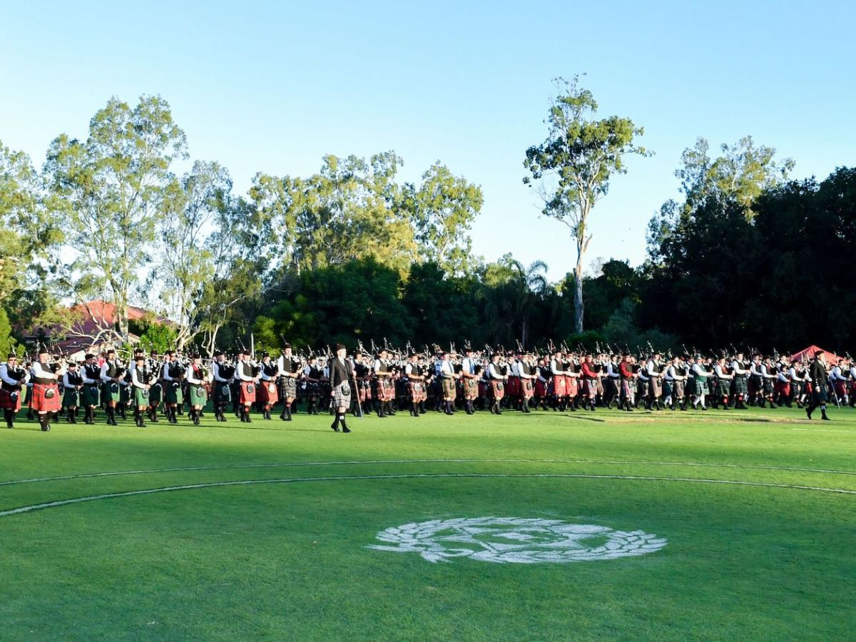 Massed Pipes and Drums at Brisbane Boys College for the Australian Pipe Band Championships 2018