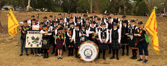 Warwick Thistle Pipe Band at the Toowoomba Carnival of Flowers 2019