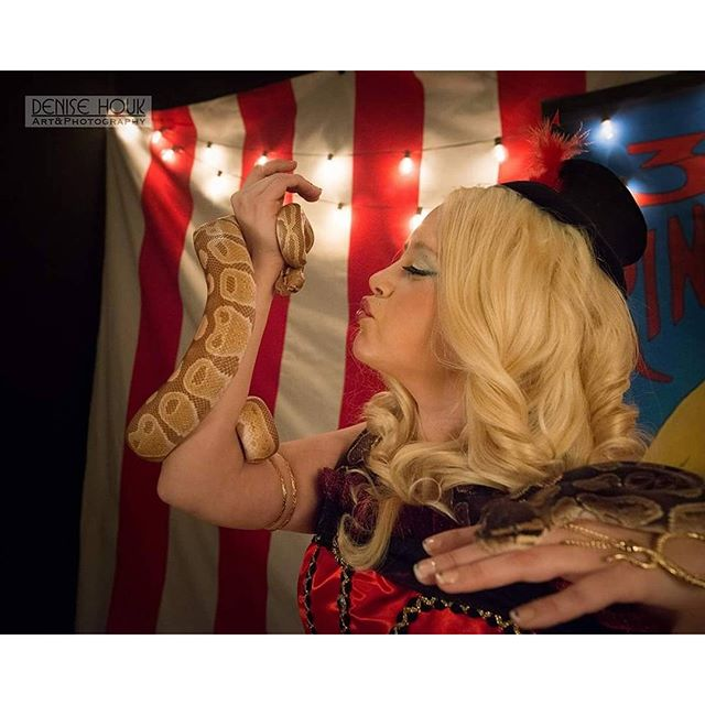 Circus Pinup Shoot Jan 2016 #DeniseHoukPhotography #PinUp #PhotoOfTheDay #Vintage #VintageGlamour #MPLS #Minneapolis #VintageGlamourGroup #Photography #BallSnake #SnakeLady #Circus