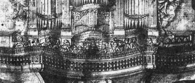 Freiberg organ and musics depicted in 1710