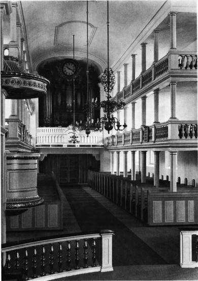 """Garnisonskirche organ, photo from """"Danmarks Kirker"""" program"""