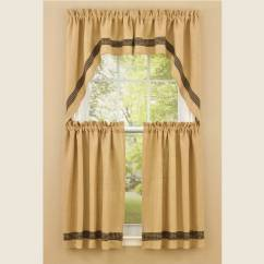 Kitchen Tier Curtains Remodel Cabinets Country   Burlap & Check Black 72