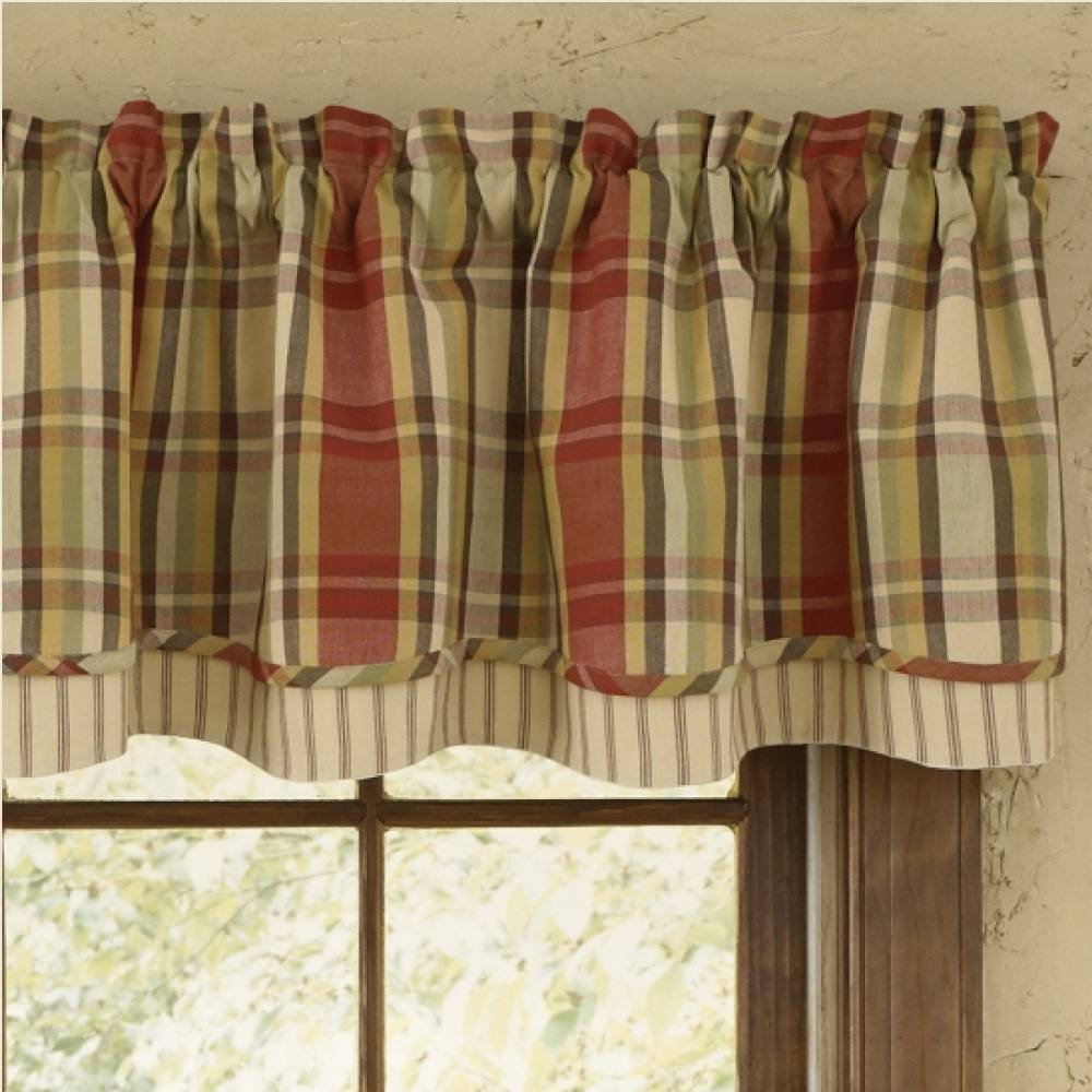 Country Layered Valance Curtains  Heartfelt 72 x 16