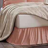 Kendra Red Stripe Queen Bed Skirt | Country Bedding