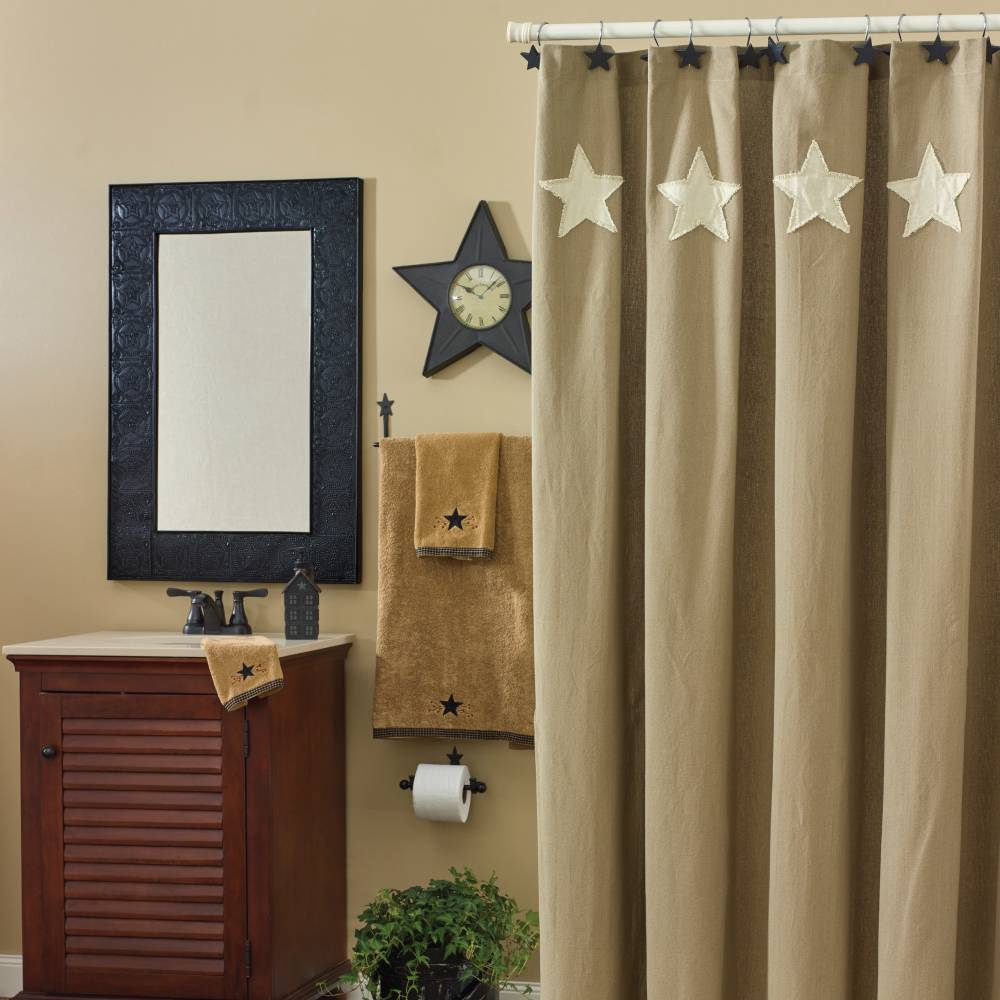 Bathroom Shower Curtain Taupe Cream Stars Shower Curtain