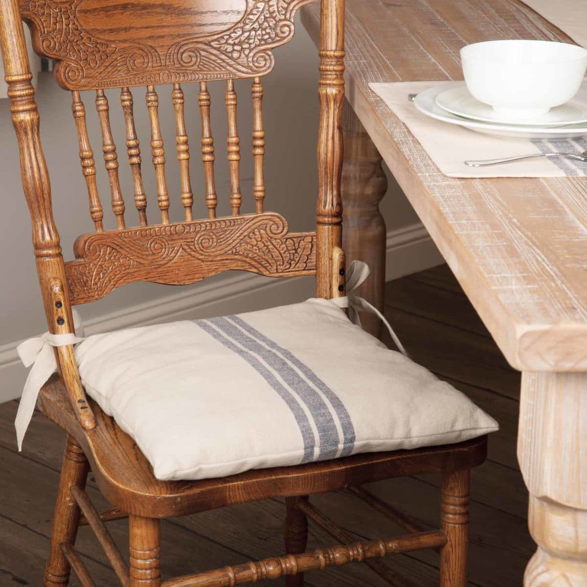 Grain Sack Chair Market Place Blue Grain Sack Chair Pad