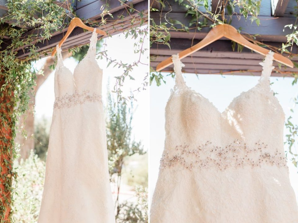 Wedding Dress hanging at La Mariposa Tucson arizona