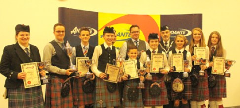 All the winners pose with sponsor Nigel hodgen of sponsors Andante Percussion and RSPBA President George Ussher