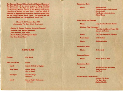 The programme of music for the Black Watch concert