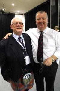 Shotts Chairman Sandy Bell and Band Committee member Ewan McAllister