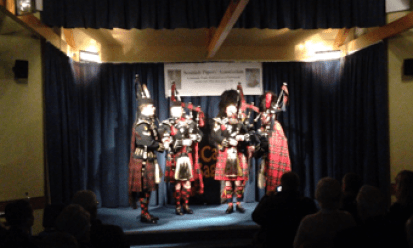 Army School pipers on stage