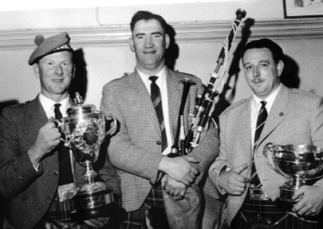 Gentle giant....Ronnie Laurie pictured in his younger day with Jimmy MacGregor (l) and Hector MacFadyen, Pennyghael