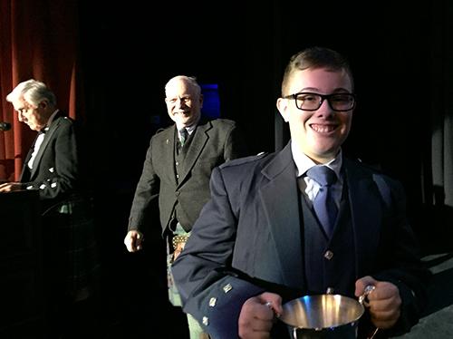 Blair Beaton with Balmoral director George Balderose and MC Arthur McAra in the background