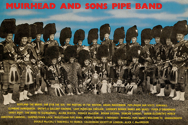 Muirhead and Sons Pipe Band under P/M Jackie Smith were the winners of the first World Championship held outside Scotland and Belfast. This picture is from an LP recording the band made after their victory