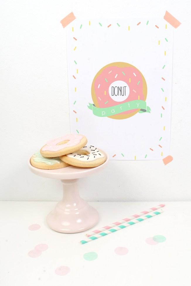 decoracion fiesta infantil descargables papeleria donut tematica color pastel lamina
