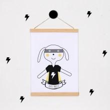 lamina personalizada print descargable a3 para lamina bolso tela o camiseta pipolart ilustracion super rabbit
