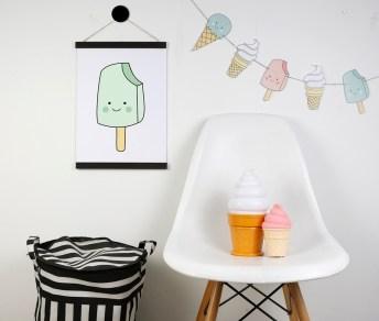 print descargable a3 para lamina bolso tela o camiseta pipolart ilustracion helado animado sonriente icecream rosa pastel cuarzo popsicle mint